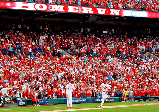 Matt Carpenter rounds the bases after he hits a two-run home run in the third inning. (Getty Images)
