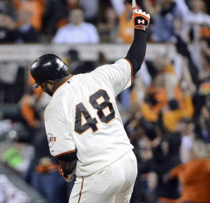 Pablo Sandoval joins Babe Ruth, Reggie Jackson and Albert Pujols as players to hit three homers in a World Series game.  (US Presswire)