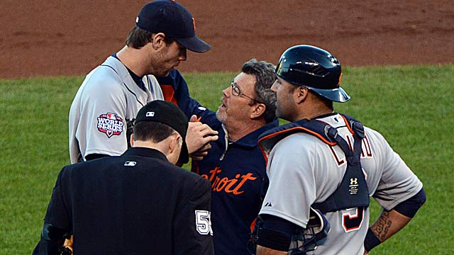 Tigers' Doug Fister, being checked by trainer, is the latest pitcher to get hit in the head by a pitch. (US Presswire)