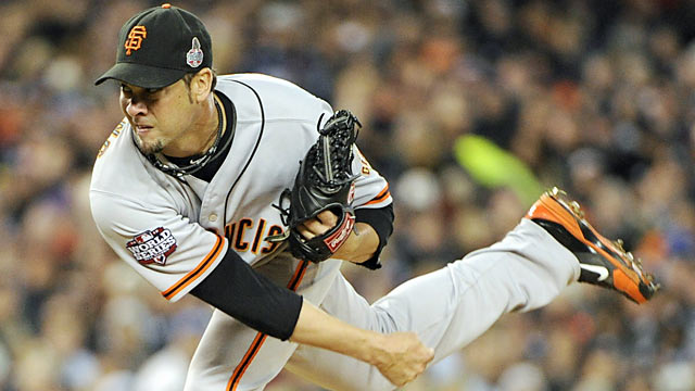 Ryan Vogelsong pitches 5 2/3 shutout innings and picks up the 2-0 win in Game 3. (US Presswire)