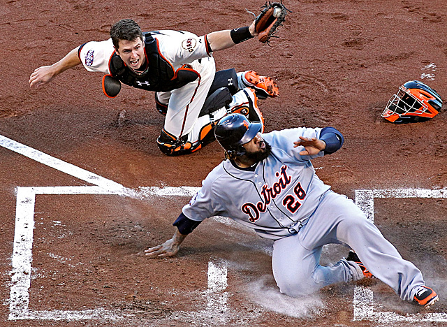 Posey tags out Prince Fielder in one of the 2012 World Series' most memorable moments. (Getty Images)