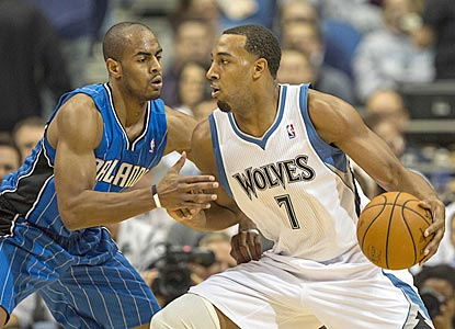 Derrick Williams, guarded here by Arron Afflalo, is one of five Timberwolves to score in double figures.  (US Presswire)