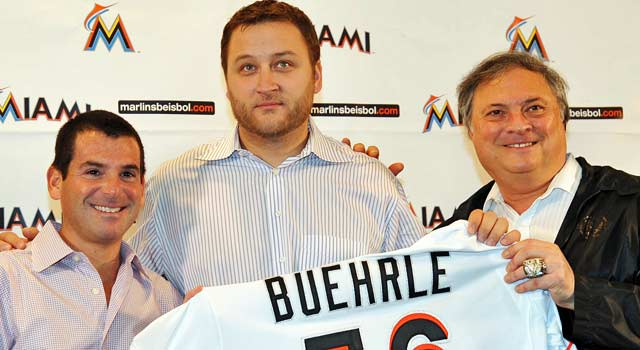 'I'm upset with how things turned out in Miami,' Buehrle (middle) says. (US Presswire)
