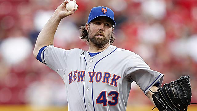Reigning Cy Young winner and knuckballer R.A. Dickey is just one of the weapons on the Jays staff. (Getty Images)