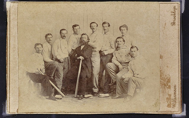 This 1865 card depicting the amateur Brooklyn Atlantics club will be auctioned off. (AP)