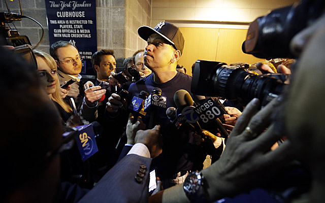 A-Rod is awash in reporters in the Yankees' clubhouse before NY takes on the Red Sox. (AP)