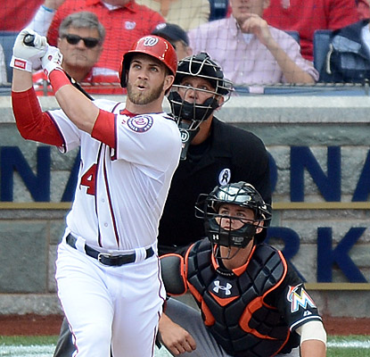 In his very first opening day, Bryce Harper swats a home run in each of his first two at-bats. (Getty Images)