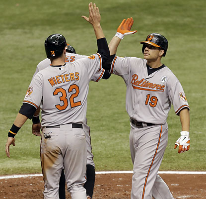 Matt Wieters (32), Adam Jones and Chris Davis (19) combine for seven RBI, five runs and six hits, including two HRs. (AP)
