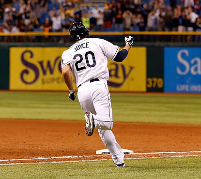Matt Joyce delivers a game-ending home run in the bottom of the ninth for the Rays.  (Getty Images)
