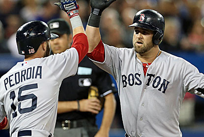 Mike Napoli and Will Middlebrooks connect for Boston's first two home runs of the young season.  (USATSI)