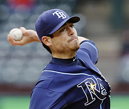 Rays pitcher Matt Moore limits Texas to a single and strikes out five, but has six walks and throws 106 pitches. (AP)