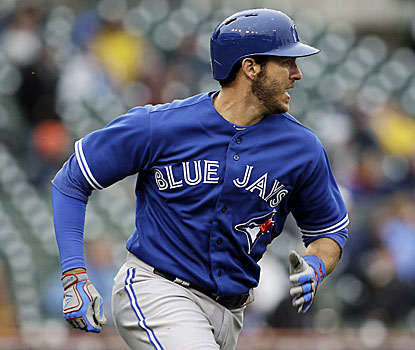 J.P. Arencibia hits a three-run double in the seventh inning to help the Jays rally from a five-run deficit and pull out a win. (AP)