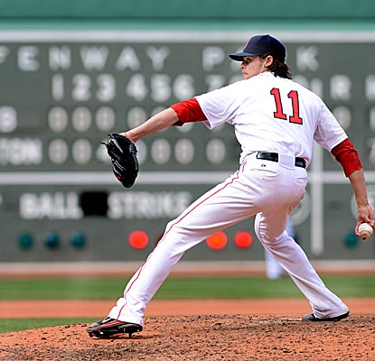 Clay Buchholz no-hits the Rays through seven innings, striking out a career-high 11 and finishing with two hits allowed. (Getty Images)