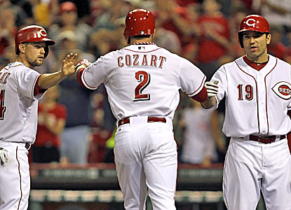 Zack Cozart is congratulated by Mike Leake (left) and Joey Votto after hitting a two-run home run. (AP)