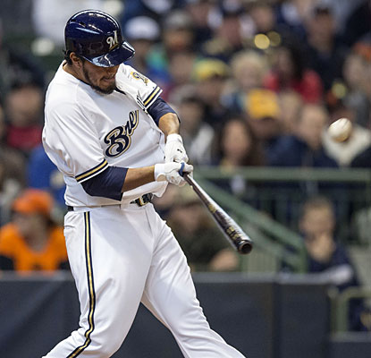 Yovani Gallardo connects for his 11th career home run, a Brewers team record for pitchers.  (Getty Images)