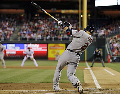 Allen Craig knocks in a pair with a single during the Cardinals' four-run rally in the third. (AP)