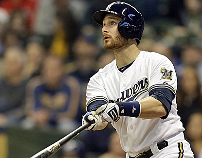 Brewers catcher Jonathan Lucroy watches his second-inning homer in Milwaukee's win over the Cubs. (AP)