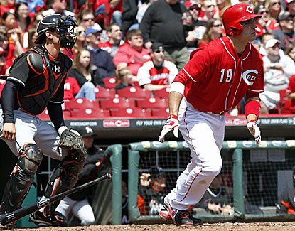 Joey Votto powers the Reds' offense against the struggling Marlins, logging three hits including a homer. (USATSI)