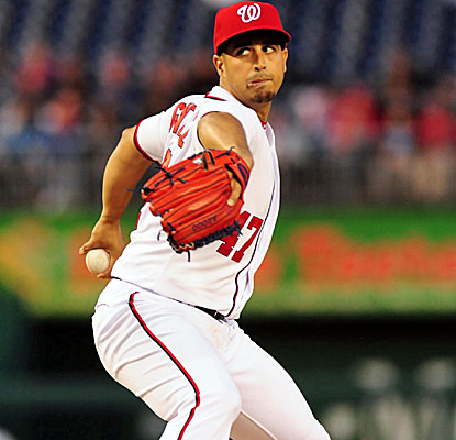 Nationals starter Gio Gonzalez allows just one hit in eight innings, retiring the first 11 hitters he faced. (USATSI)
