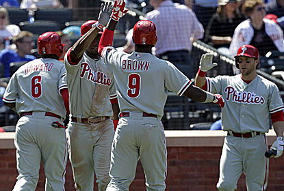 Domonic Brown and the Phillies have won five in a row and nine of 12 at Citi Field, dating to 2011. (Getty Images)