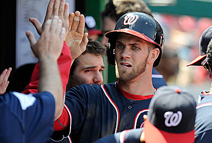 Bryce Harper hits a two-run homer, which gives him 18 RBI, a Nationals record for April. (Getty Images)