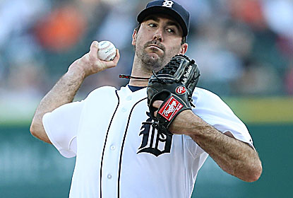 Justin Verlander, who had left his previous start with a finger blister, strikes out 8 during seven innings of five-hit ball. (Getty Images)