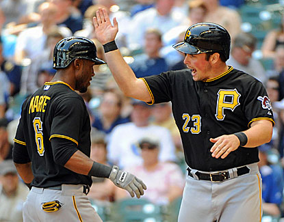 Pittsburgh's Travis Snider (right) greets Starling Marte after Marte's two-run home run in the eighth inning. (USATSI)