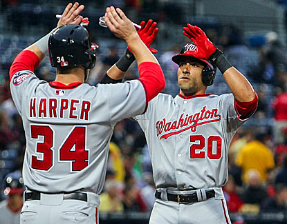 Ian Desmond (right) celebrates with Bryce Harper after swatting a two-run home run in the fourth inning. (USATSI)