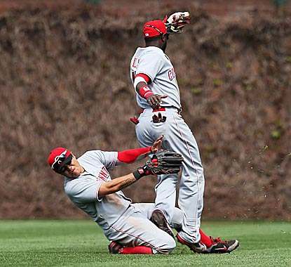 The Reds dodge a big bullet when Shin-Soo Choo and Brandon Phillips collide but avoid injury.  (Getty Images)