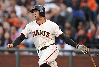 Hunter Pence doubles twice and drives in all four of his team's runs to help the Giants take over first in the NL West.  (Getty Images)