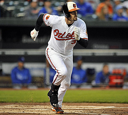 Baltimore's Matt Wieters drives in three runs against the Royals, including the tiebreaker in the eighth inning.  (USATSI)