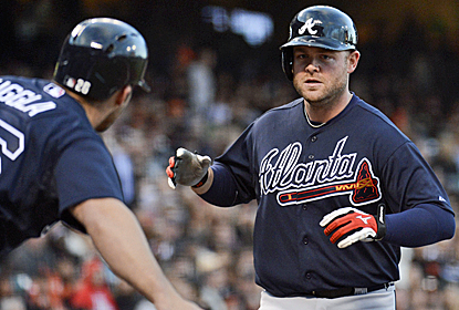 Braves catcher Brian McCann collects three hits, including a two-run homer in Atlanta's win.  (USATSI)