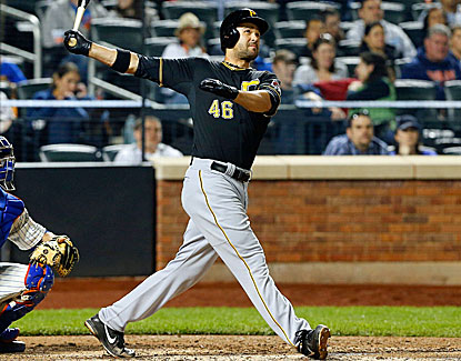 Garrett Jones hits a three-run homer for the Pirates, one of his three hits in five at-bats against the Mets. (Getty Images)