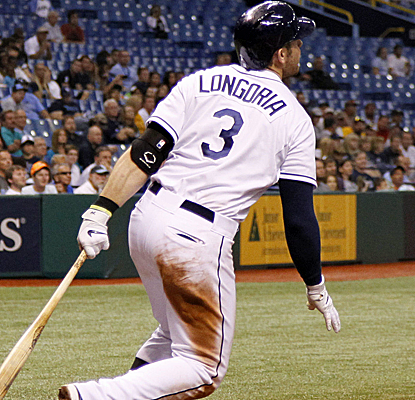 Evan Longoria watches his two-run, walk-off HR that lifts the Rays to their fourth straight win.  (USATSI)