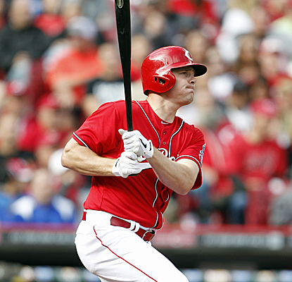 Jay Bruce collects a pair of doubles to go with a home run as six Reds players notch two RBI.  (USATSI)