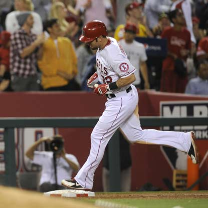 Josh Hamilton hits one of four Angels' home runs in their victory against the Royals.  (Getty Images)
