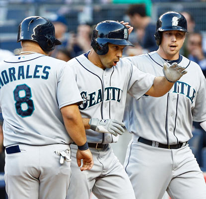 Raul Ibanez haunts his former team with a grand slam in the first inning and has three homers in two games for the Mariners.  (USATSI)