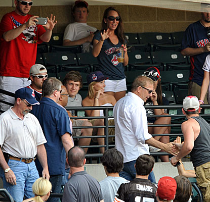 Actor Kevin Costner, famous for playing ball players, takes in a matinee game as the Indians top the Mariners. (USATSI)