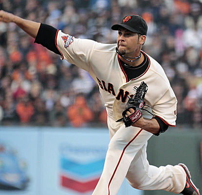Ryan Vogelsong is having perhaps his best outing of the year before suffering a broken hand.  (USATSI)