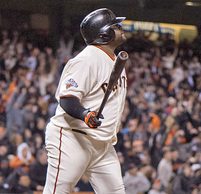 Pablo Sandoval watches on after smashing a walk-off home run in the 10th inning against the Nationals. (USATSI)