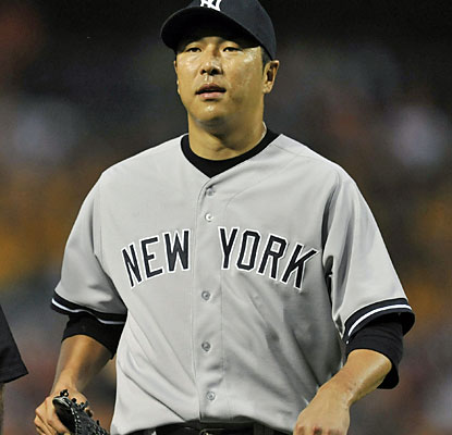 Hiroki Kuroda records just six outs before leaving with a bruised right calf. The Yankees expect him to make his next start. (USATSI)