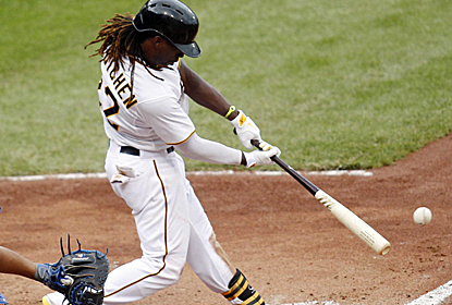 Andrew McCutchen connects for one os his three hits as the Pirates win a matinee at Wrigley Field.  (USATSI)