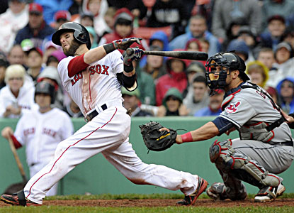 Dustin Pedroia  hits an RBI double during Boston's four-run eighth inning against the Indians. (USATSI)