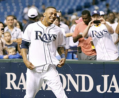 Desmond Jennings reacts to his postgame dousing after delivering a walk-off single with two outs in the ninth inning.  (USATSI)