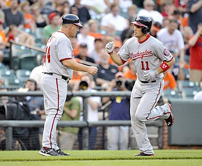 Washington's Ryan Zimmerman takes the first of his three tours around the Camden Yards bases.  (USATSI)