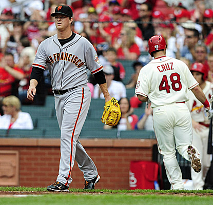 Matt Cain falls to 0-3 in four starts at Busch Stadium after getting hammered in the first half of a doubleheader. (USATSI)