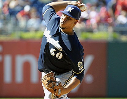 Brewers starter Wily Peralta pitches seven strong innings, giving up two runs and striking out six against the Phillies. (USATSI)