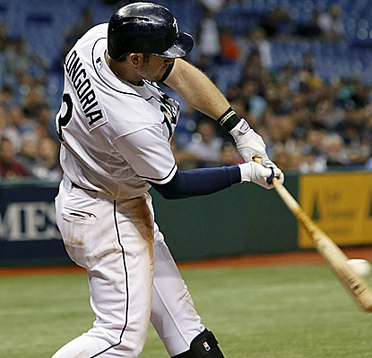 Evan Longoria collects a pair of hits, including a two-run homer, to keep his average above the .300 mark.  (USATSI)