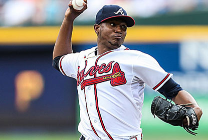 Julio Teheran has his no-hit bid broken up after 7 2/3 innings, but sets a career high with 11 strikeouts for surging Atlanta. (USATSI)