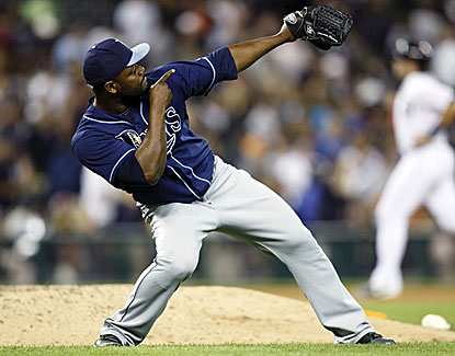 Rays closer Fernando Rodney celebrates nailing down his 12th save in 17 chances this season. (USATSI)
